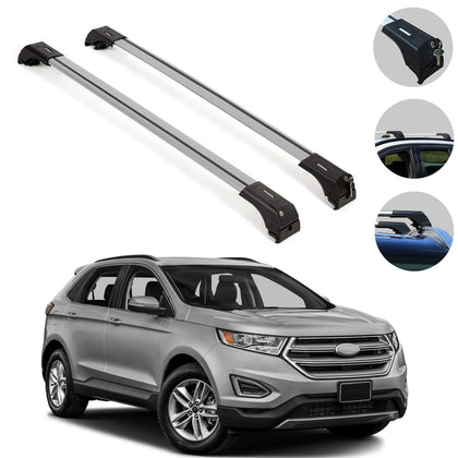 Roof Rack Cross Bars Luggage Carrier Alu. Silver for Ford Edge 2015-2019