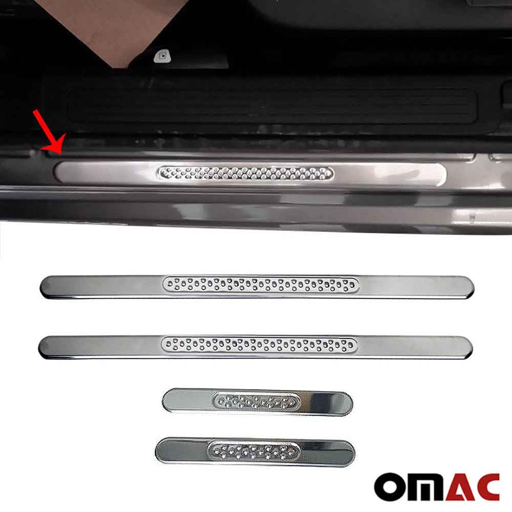 Fits Chevrolet Sonic Door Sill Plate Cover Trim Stainless Steel 4 Pcs