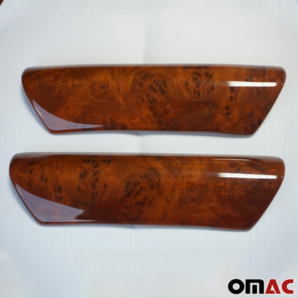 Fits VW Transporter 2003-2015 Wood Wrap Interior Door Handle Cover S.Steel 2 Pcs Omac Shop Usa - Auto Accessories