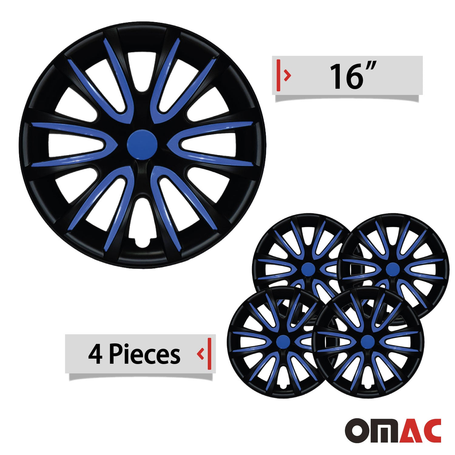 "16"" Inch Hubcaps Wheel Rim Cover Matt Black with Dark Blue for Jeep Renegade Set"