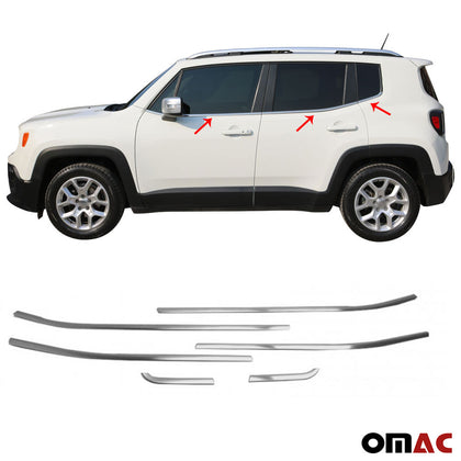 For JEEP Renegade 2018-2020 Brushed Chrome Window Frame Trim Cover S.Steel 6 Pcs