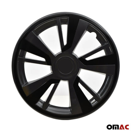 15'' Hubcaps Wheel Rim Cover Black with Black Insert 4pcs Set For Audi
