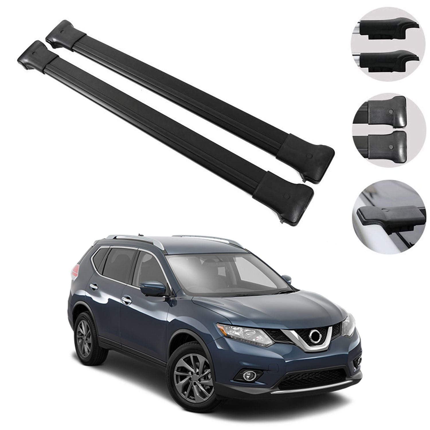 Roof Rack Cross Bars Luggage Carrier Black 2 Pieces For Nissan Rogue 2 Omac Shop Usa Auto Accessories