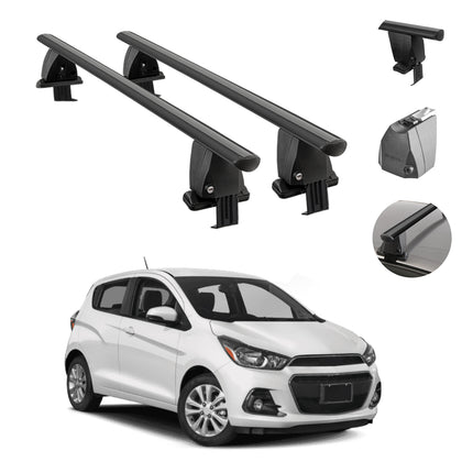 Fits Chevrolet Spark 2016-2021 Smooth Roof Rack Cross Bar Carrier Rail Black
