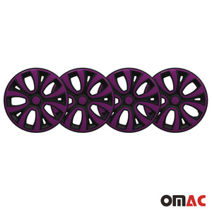 "Hub Cap 14"" Inch Wheel Rim Cover Glossy Black with Violet Insert 4pcs Set"