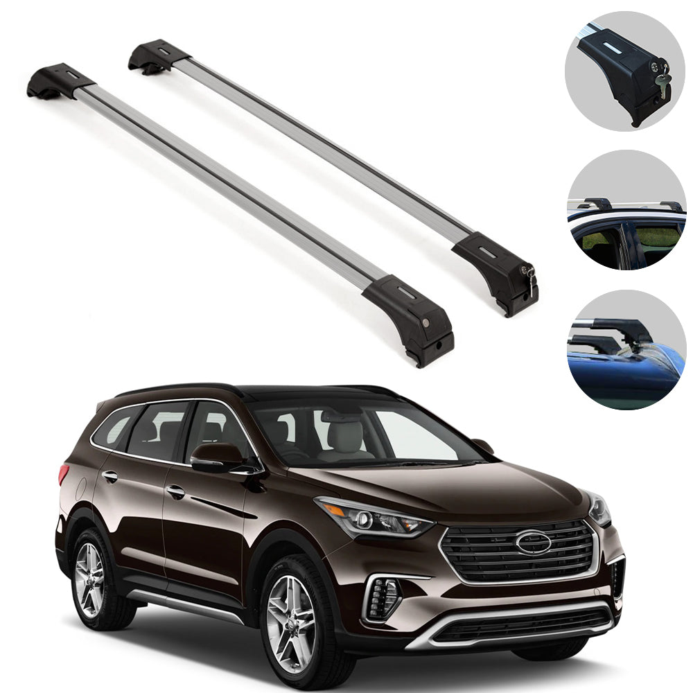 Roof Rack Cross Bars Luggage Carrier Silver for Hyundai Santa Fe 2013-2018