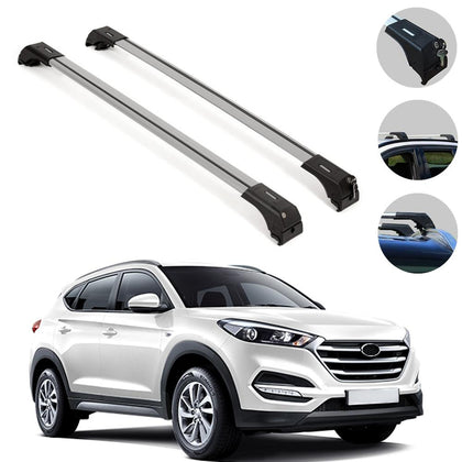Roof Rack Cross Bars Luggage Carrier Alu. Silver Fits Hyundai Tucson 2016-2020