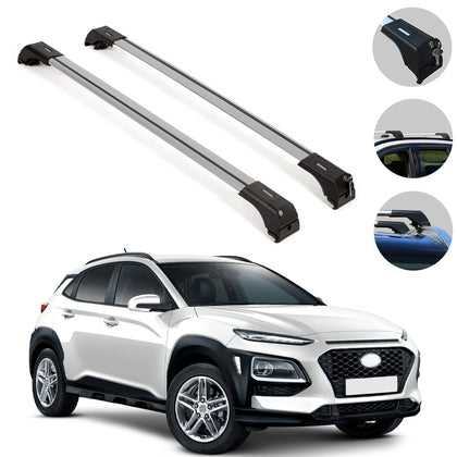 Roof Rack Cross Bars Cross Rail Lockable 2 Pcs Silver for Hyundai Kona 2018-2021