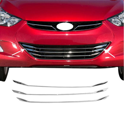 Fits Hyundai Elantra 2011-2016 Chrome Front Bumper Grill Trim Stainless 3 Pcs Omac Shop Usa - Auto Accessories