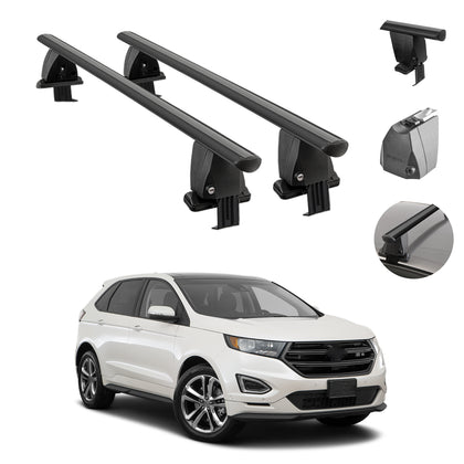 Fits Ford Edge 2015-2021 Smooth Roof Rack Cross Bar Carrier Rail Black Aluminum