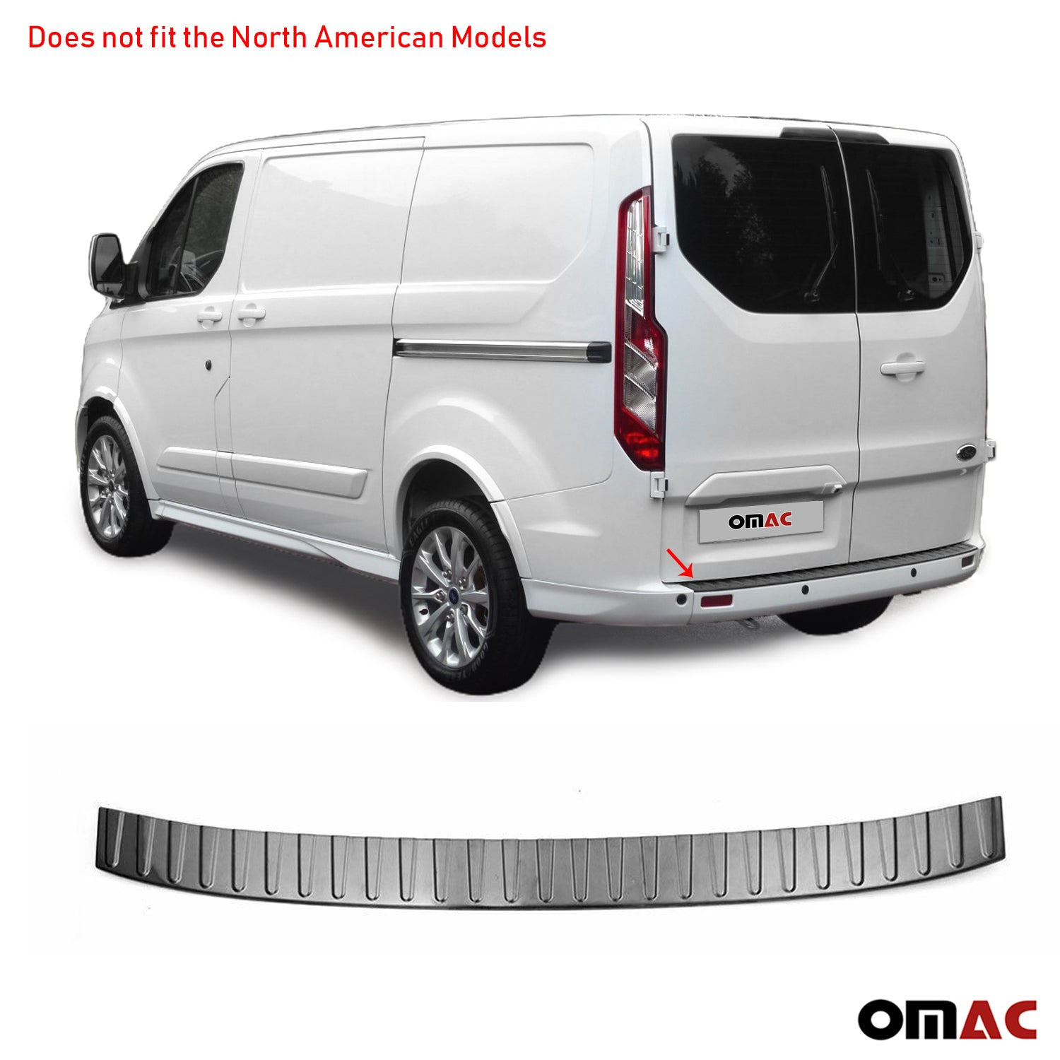 Dark Brushed Chrome Rear Bumper Trunk Sill Cover For Ford Transit Custom 2013-20