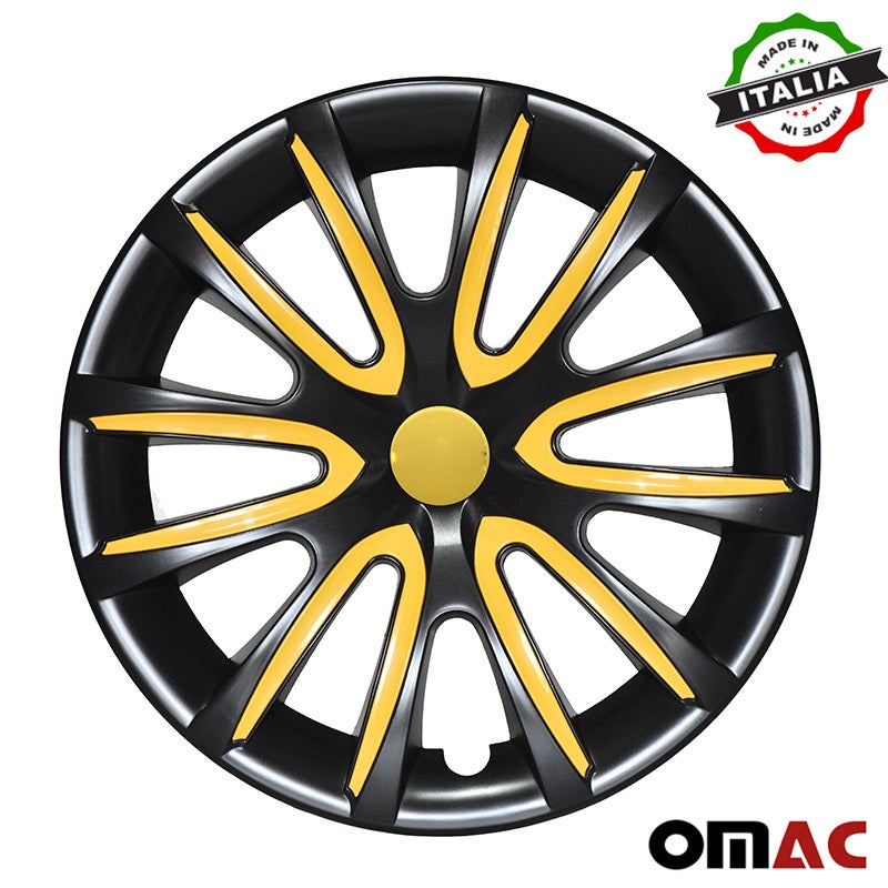 "16"" Inch Hub Cap Wheel Rim Cover Black with Yellow for Ram ProMaster 4pcs Set"