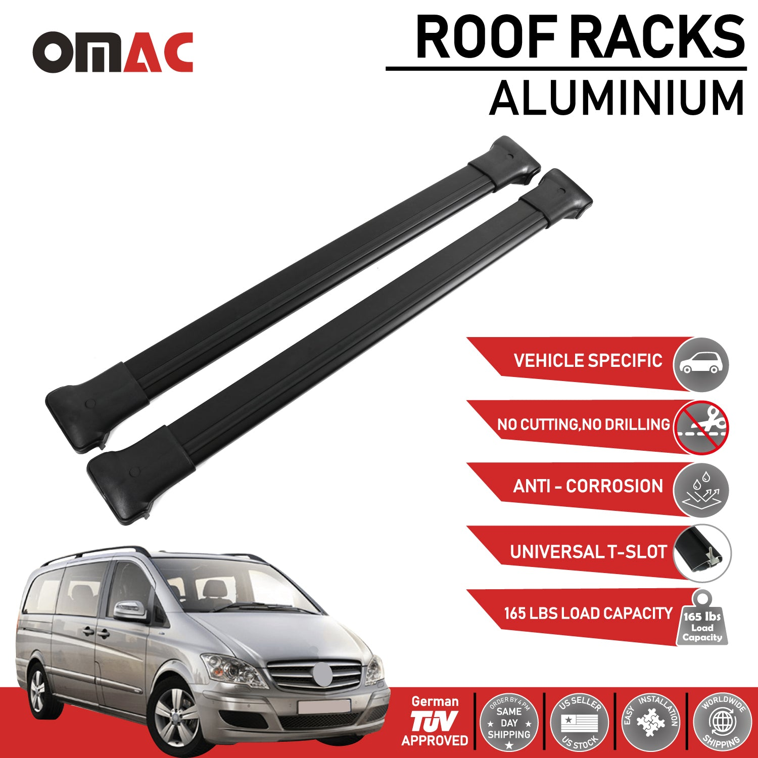Roof Rack Cross Bars Luggage Carrier  For Mercedes Metris W638 W639 W447 2016-20