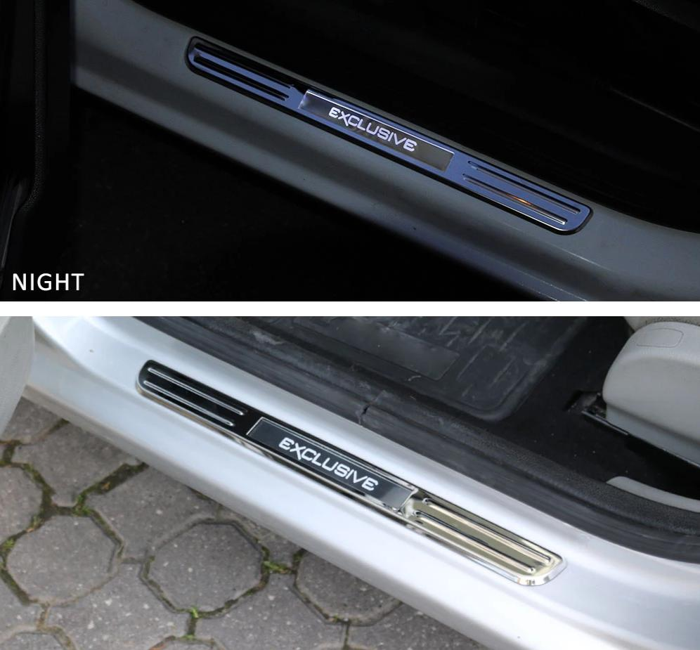 Fits Ford Fusion 2013-2019 Chrome LED Door Sill Scuff Plate S.Steel Trim 2 Pcs