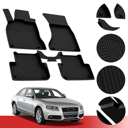 Floor Mats Heavy Duty Rubber Protection Liner Fits Audi A4 (B8) Sedan 2008-2016