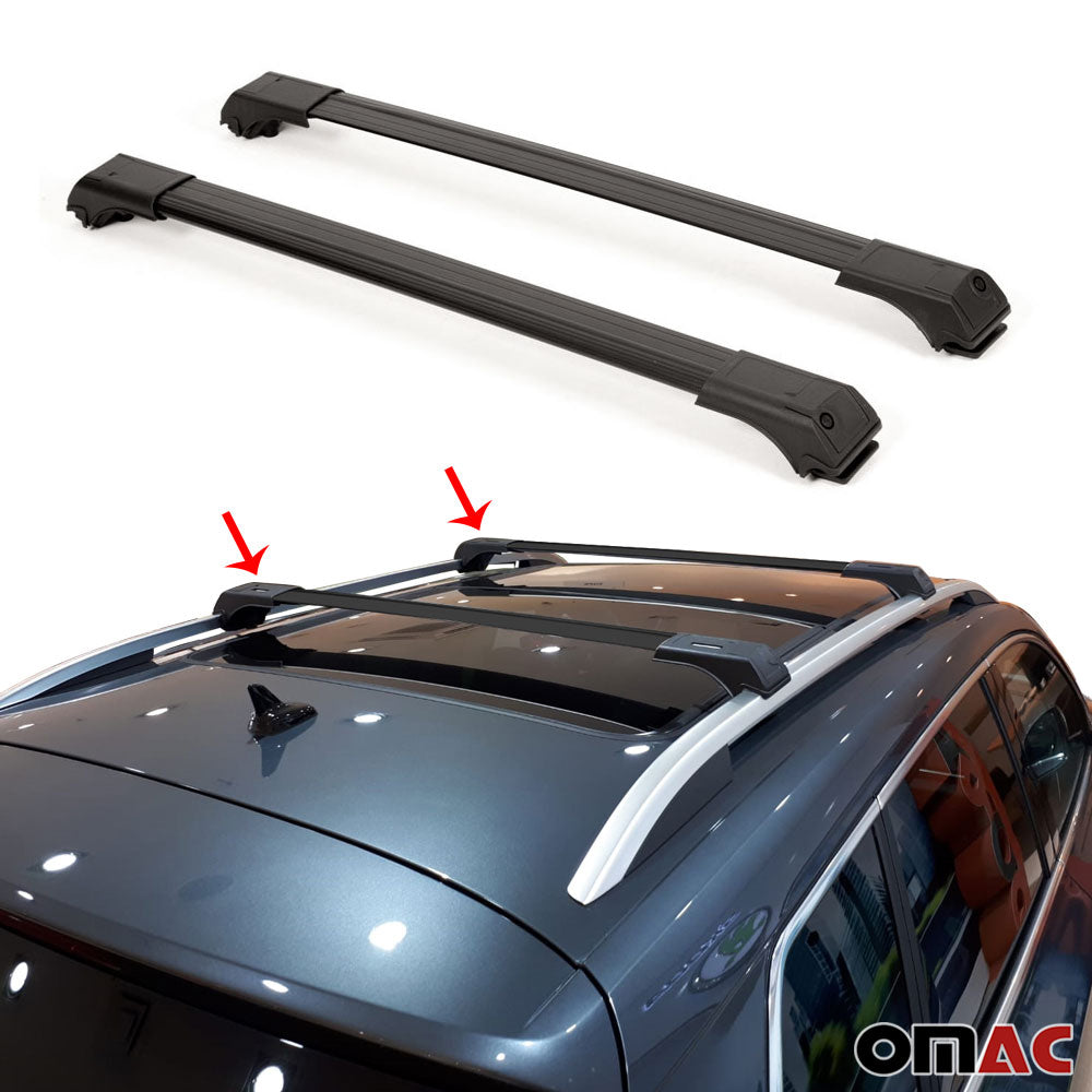 Roof Rack Cross Bars Luggage Carrier Black Set for Range Rover Sport 2006-2013