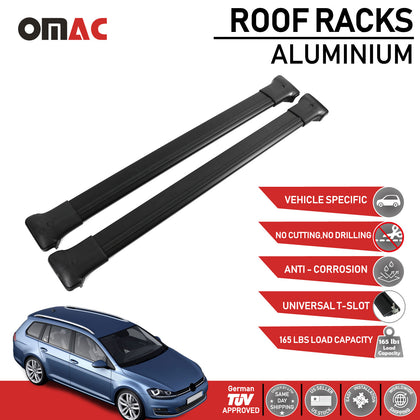Roof Rack Cross Bars Luggage Carrier Fits Volkswagen Golf Variant 2013-2019