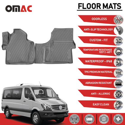 Floor Mats Liner 3D Molded Gray Fits Mercedes Sprinter 2007-2018 Omac Shop Usa - Auto Accessories