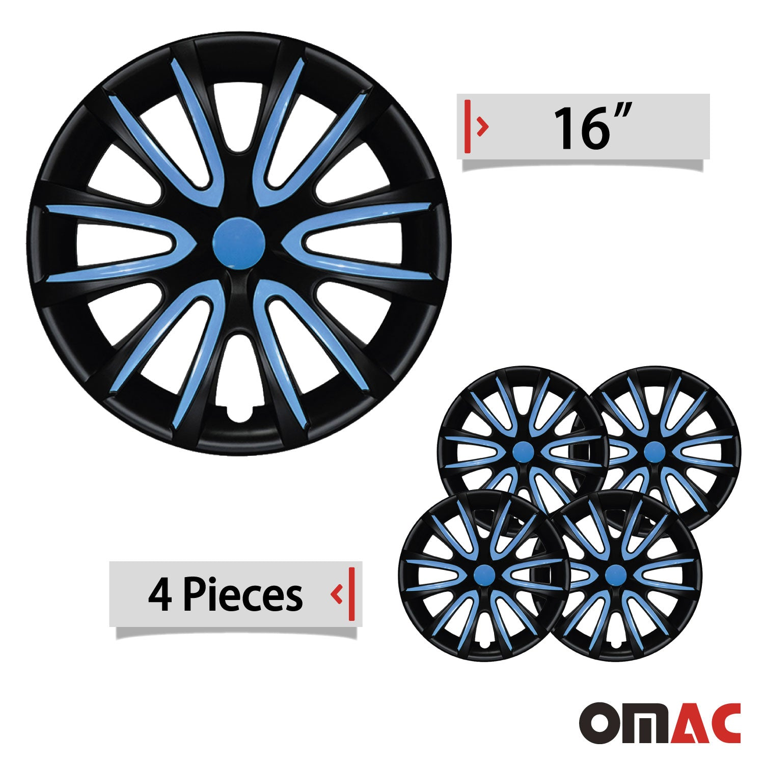 "16"" Inch Hub Cap Wheel Rim Cover Matt Black with Blue for Subaru Impreza Set"