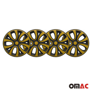 "Hub Cap 14"" Inch Wheel Rim Cover Matt Black with Yellow Insert 4pcs Set"