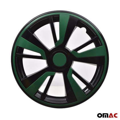16'' Hubcaps Wheel Rim Cover Matt Black with Green Insert 4pcs Set