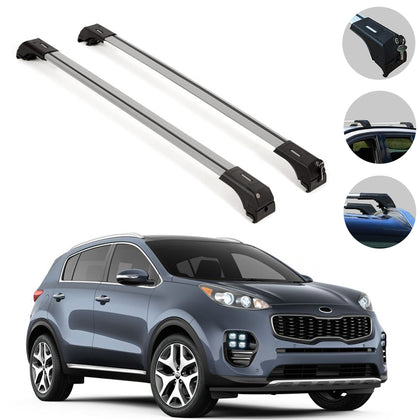 Omac usa - Aluminium Roof Rack Cross Bar Carrier Rails Silver for KIA SPORTAGE 2010-2016 - Omac Shop Usa - Auto Accessories