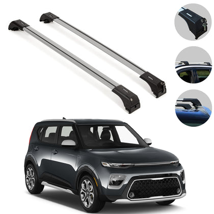 Omac usa - Aluminium Roof Rack Cross Bar Carrier Silver 2 Pcs for KIA SOUL X-LINE 2020- - Omac Shop Usa - Auto Accessories
