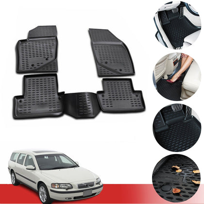 Floor Mats Liner 3D Molded Black Fits for Volvo V70 2 2001-2007