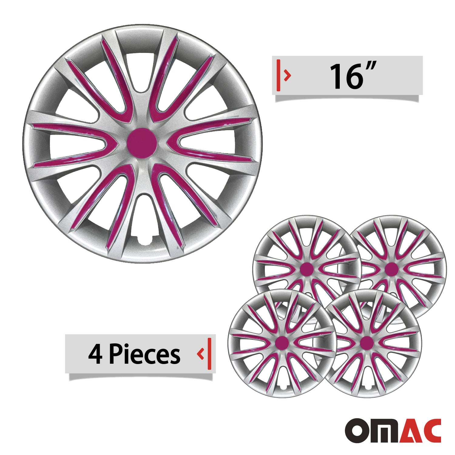 "16"" Inch Hubcaps Wheel Rim Cover Gray with Violet Insert For Jeep Compass 4pcs"