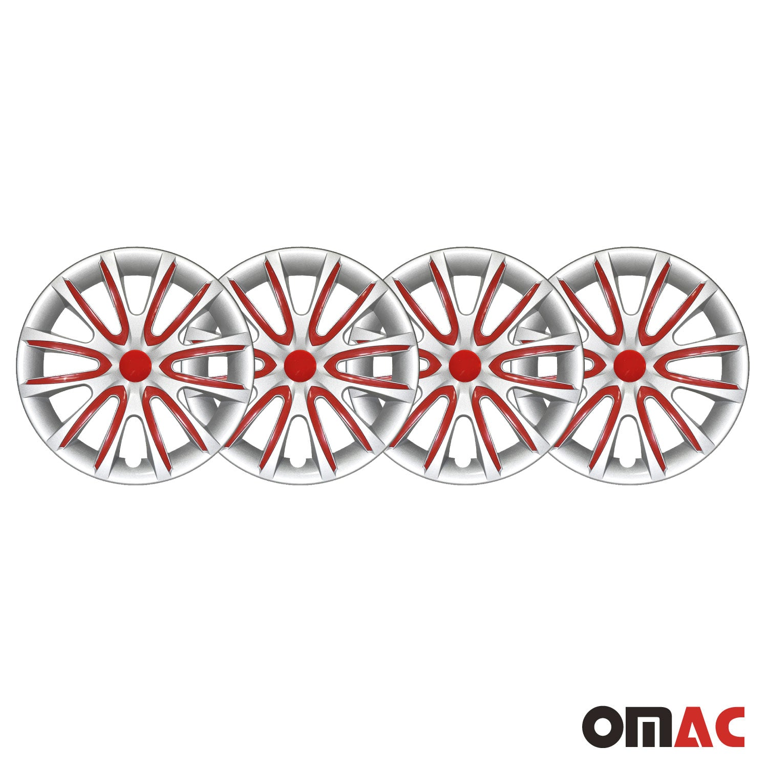 "16"" Inch Hubcaps Wheel Rim Cover Gray with Red for Ford F-Series 4pcs Set"