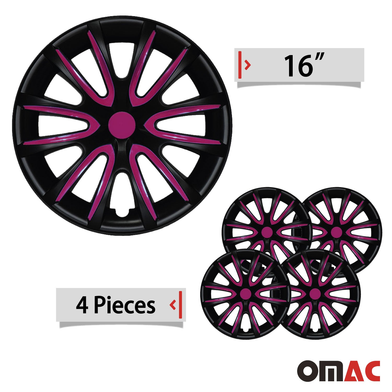"16"" Inch Hubcaps Wheel Rim Cover Matt Black with Violet for Nissan Kicks Set"
