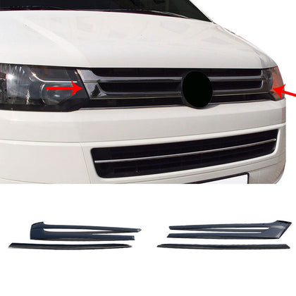 Dark Chrome Front Bumper Grill Cover Steel 4 Pcs For VW T5 Transporter 2010-2015
