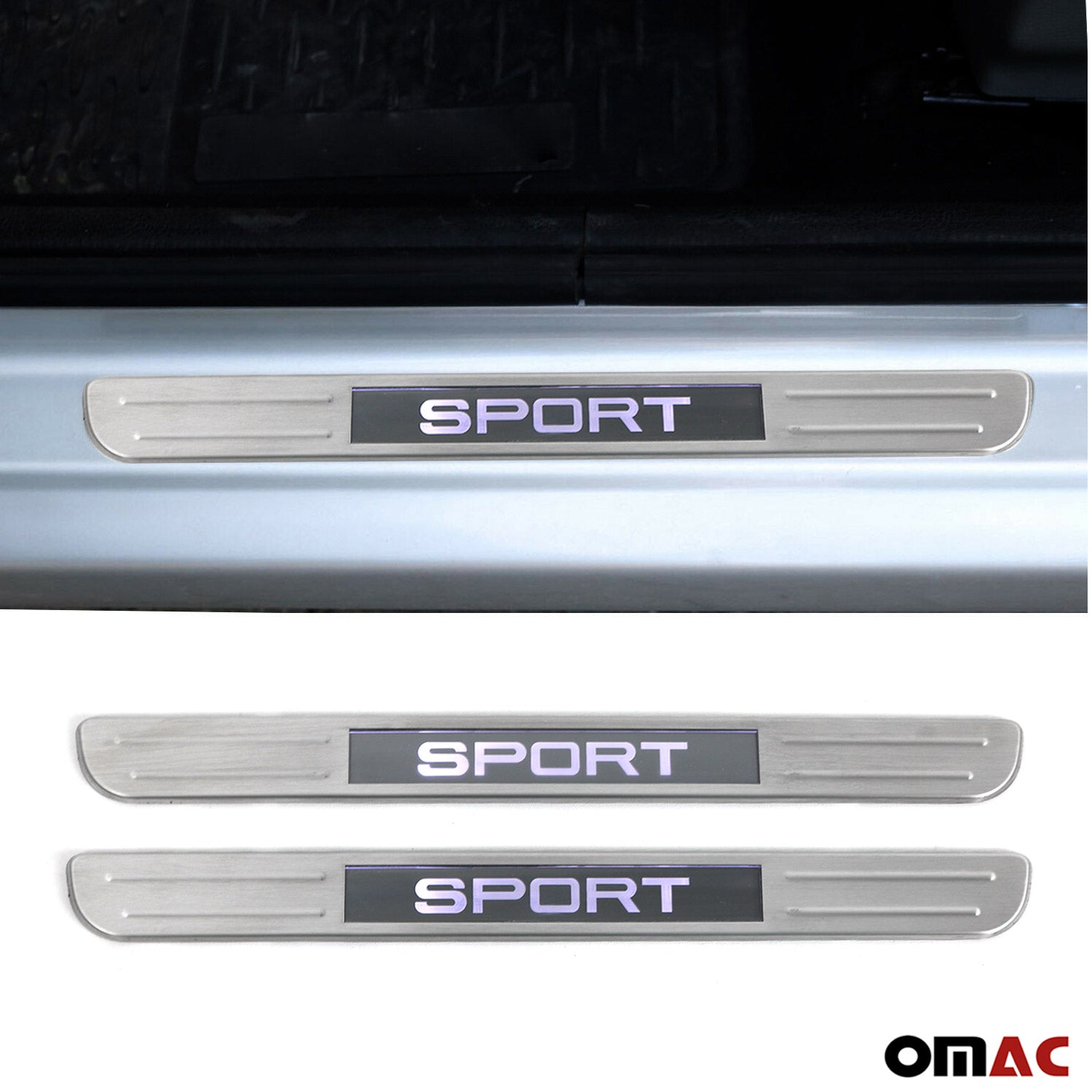 Brushed Chrome LED Door Sill Cover 21 Pcs S. Steel For Ford Escape ...