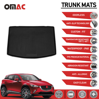 Fits Mazda CX-3 Rear Cargo Trunk Floor Mat Molded Boot Tray Liner 2016-2018 Omac Shop Usa - Auto Accessories