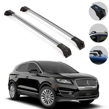 Roof Rack Cross Bars Luggage Carrier Silver Set for Lincoln MKC 2015-2019