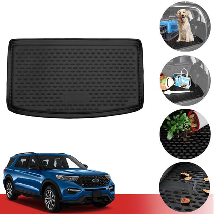 Cargo Liner Trunk Floor Mat 3D Molded Black Fits Ford Explorer 6 Seats 2020-2021
