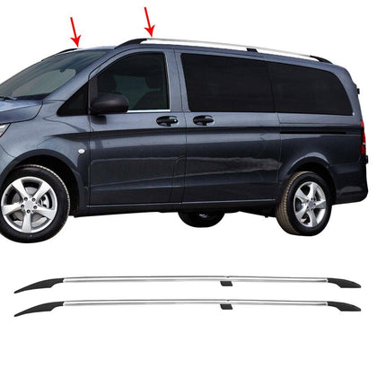 Roof Racks Aluminum Top Rails Side Bar Glossy For Mercedes-Benz Metris 2016-2021