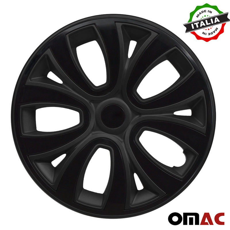 "Hub Cap 14"" Inch Wheel Rim Cover Matt Black with Black Insert 4pcs Set"