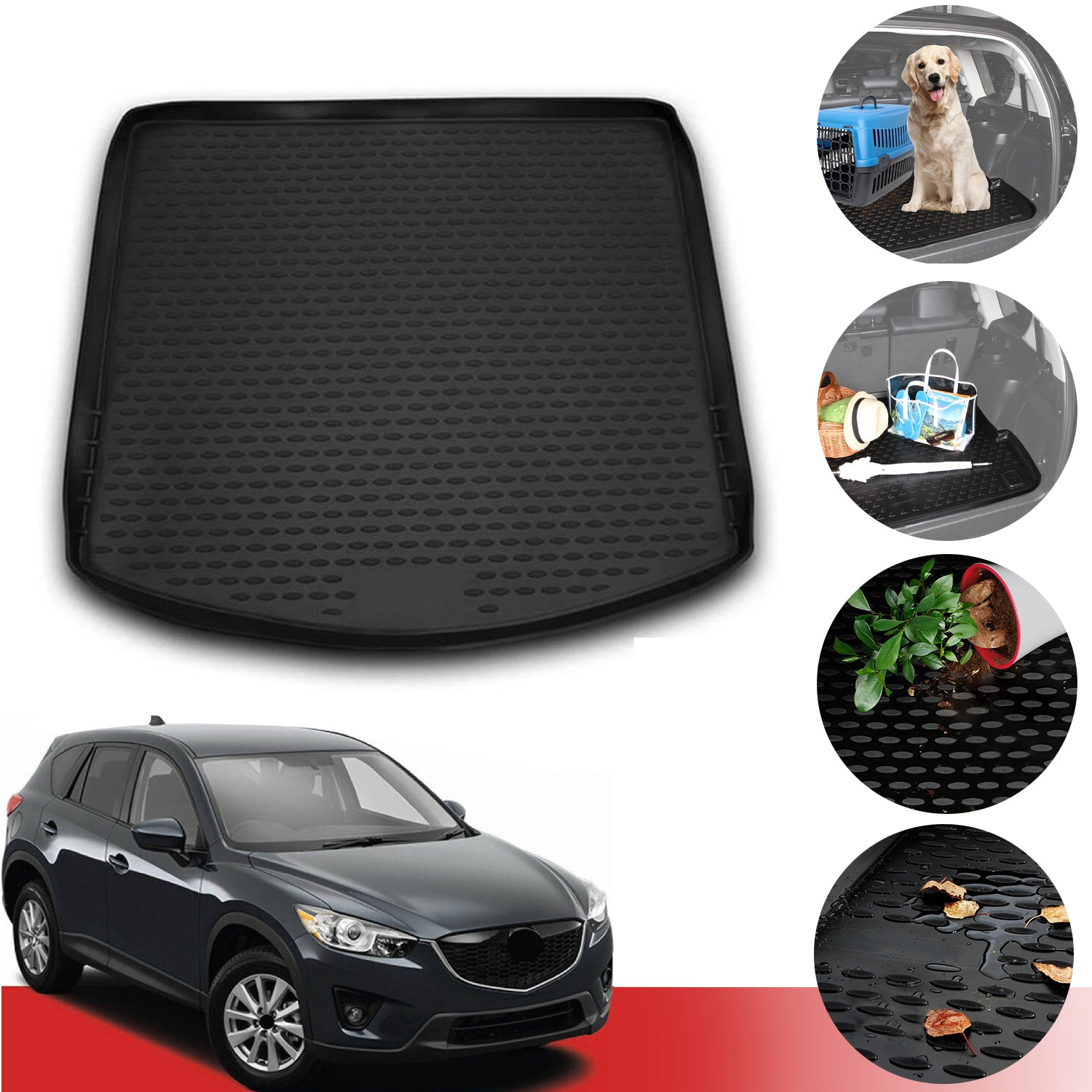 All Weather Floor Mats for Mazda CX-5 CX5 2017 2018 2019 Runner Front and Rear Seat Liners Heavy Duty Rubber Carpet Odorless,Black