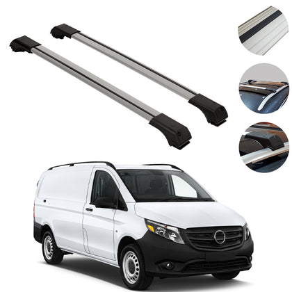 Omac usa - Mercedes Benz Metris W447 2014-2019 Roof Racks Cross Bars Rails Alu. SILVER SET - Omac Shop Usa - Auto Accessories