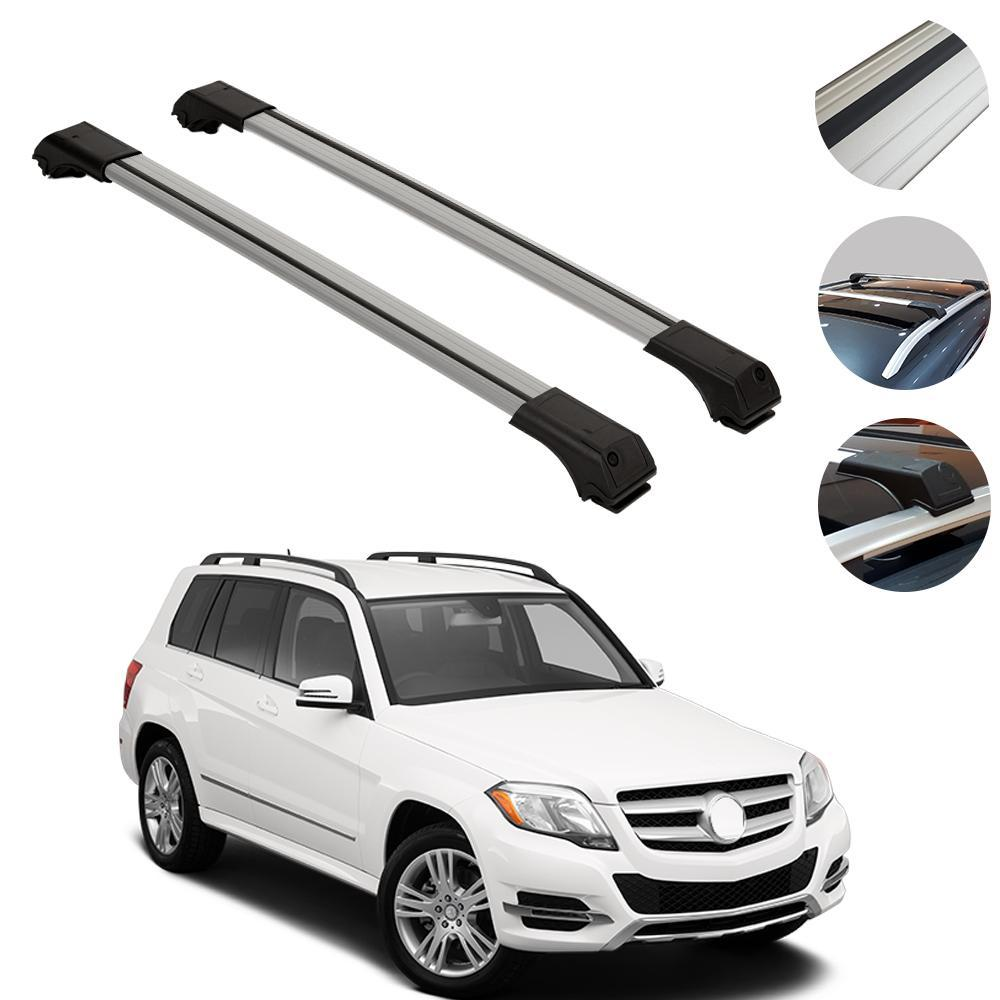 Roof Rack Cross Bars Luggage Carrier Silver Set fits Mercedes GLK 2010-2015
