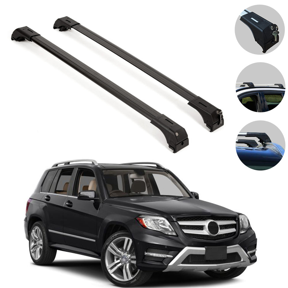 Roof Rack Cross Bars Luggage Carrier Black for Mercedes GLK X204 2010-2015