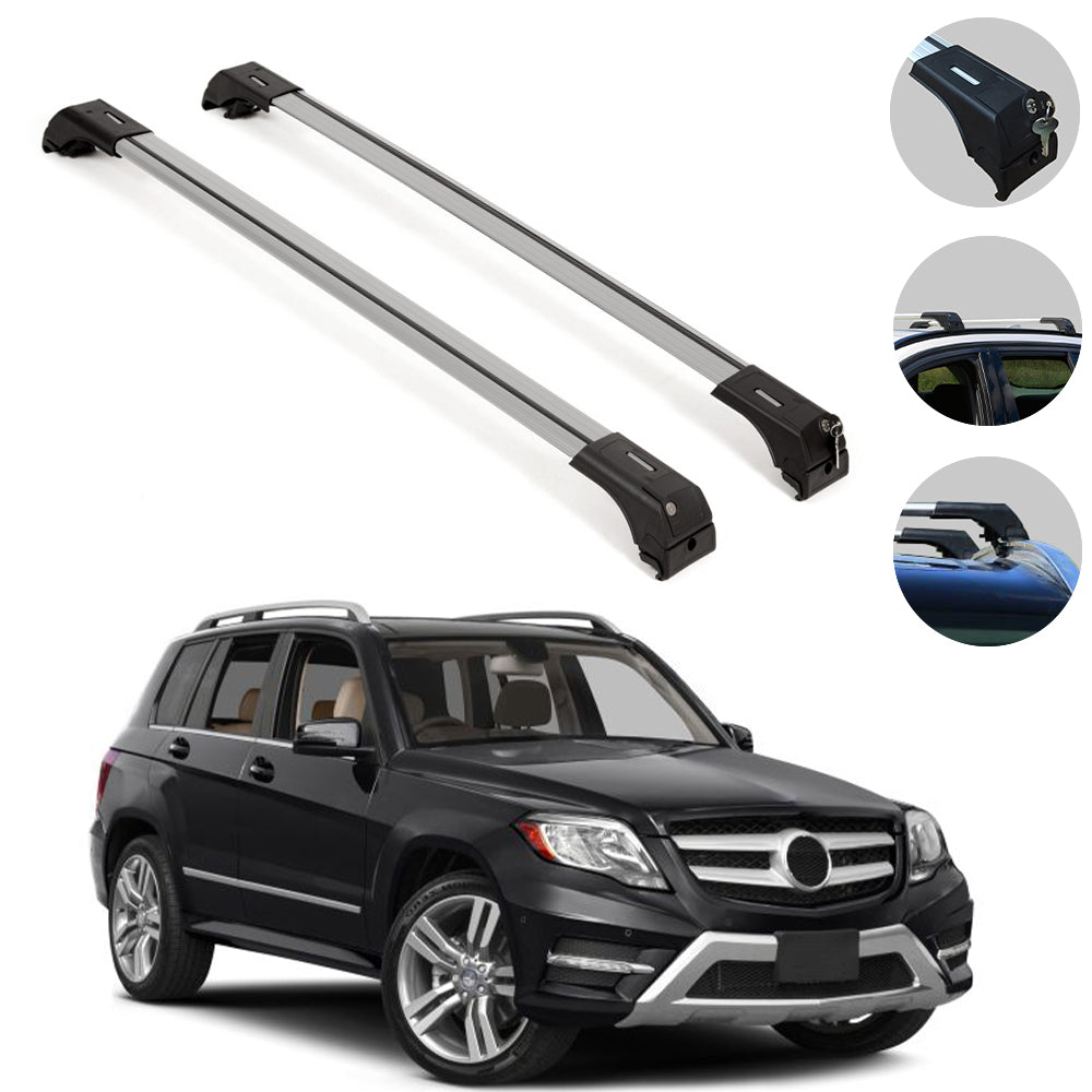 Roof Rack Cross Bars Luggage Carrier Silver Set for Mercedes GLK X204 2010-15