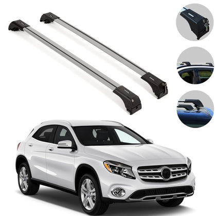 Roof Rack Cross Bars Luggage Carrier Silver Set fits Mercedes GLA 2014-2019