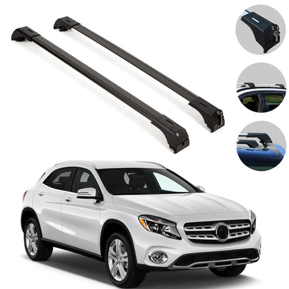 Omac usa - MERCEDES BENZ GLA 2014- Roof Racks Cross Bars Top Carriage Rails Alu. BLACK 2Pcs - Omac Shop Usa - Auto Accessories