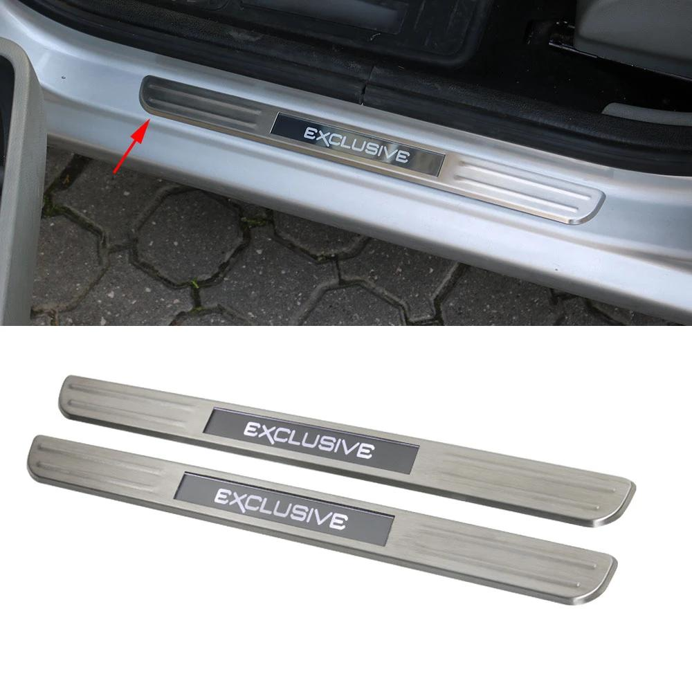 Fits VW Passat 2012-2015 LED Chrome Door Sill Cover Brushed S.Steel 2 Pcs