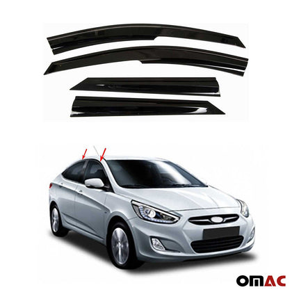 Window Visor Vent Sun Shade Rain Guard 4pcs Fits Hyundai Accent 2011-19