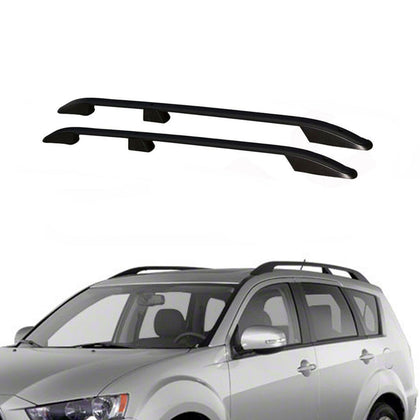 Top Roof Rack Side Rails Bars Alu. Black for Mitsubishi Outlander Sport 2011-19 - Omac Shop Usa - Auto Accessories