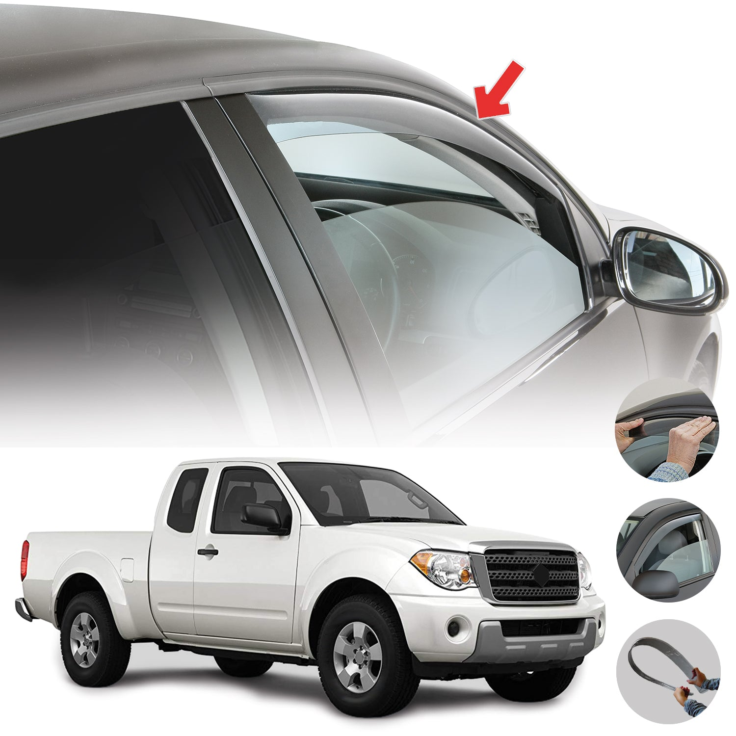 Window Visor Vent Sun Shade Rain Guard 2pcs Fits Suzuki Equator 2009-2012