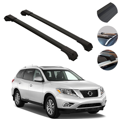 Omac usa - Roof Racks Cross Bars Rails Alu. BLACK SET 2Pc for Nissan Pathfinder 2005-2012 - Omac Shop Usa - Auto Accessories